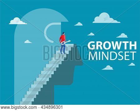 Businessman Unlock Thinking On Top Head Human For Improved Behaves Think For Growth Mindset Concept