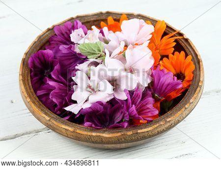 Flowers Of Wild Mallow, Lat.  Malva Sylvestris,  Marigold, Calendula Officinalis And Marsh Mallow, A