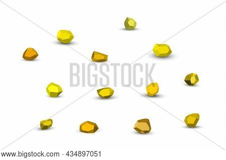 Cartoon Yellow Stones. Rock Stone Isometric Set. Colorful Boulders, Natural Building Block Shapes, W