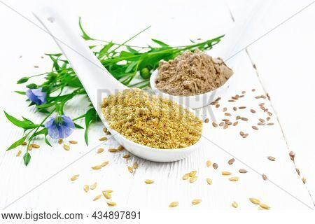 Bran And Flour Flaxseed In Spoons On White Board