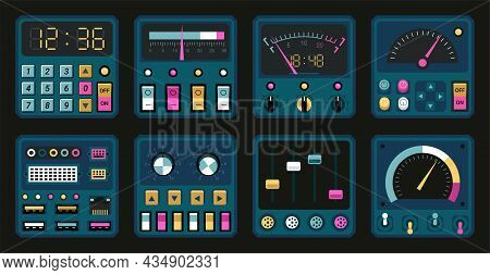 Control Panels. Retro Pc And Radio Dashboard With Switches And Buttons. Connection Ports, Tuners And