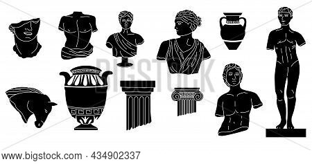 Black Doodle Sculptures. Abstract Ancient Greek Mythology Statues And Columns. Antique Amphora And V