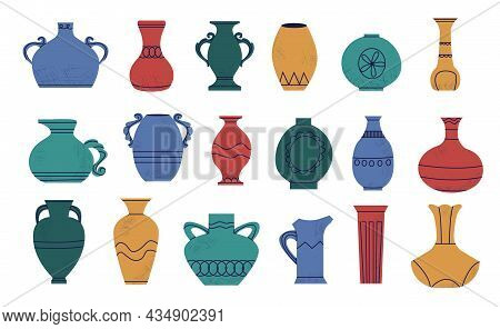 Doodle Pottery. Cartoon Abstract Shapes Of Ancient Amphora. Retro Vase And Antique Wine Jar Mockup.