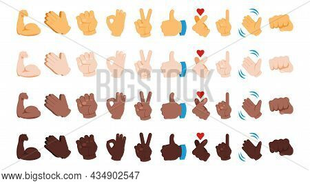 Diverse Hand Emoji. Various Skin Color Gestures. Black Yellow And White Thumb Up Signs. Waving And P