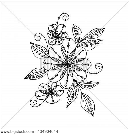 Abstract Black And White Flower In Doodle Or Sketch Style, Freehand Drawing, Vector. Postcard, Invit