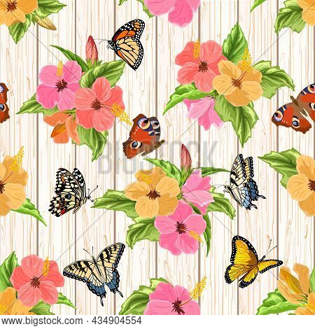 Flowers And Butterflies On A Wooden Background.hibiscus Flowers And Butterflies On Wooden Background