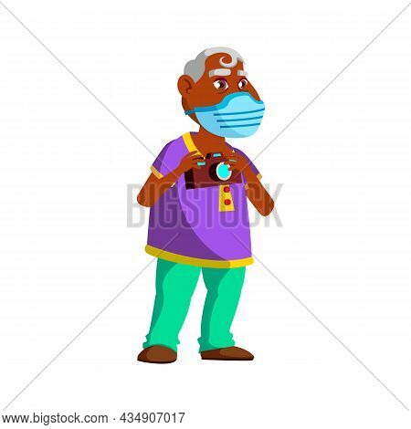 Old Man Wearing Facial Mask On Excursion Vector. Indian Elderly Grandfather Wear Medical Protective