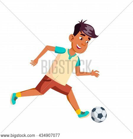 Teenager Boy Playing Soccer Sport Game Vector. Hispanic Schoolboy Play Football Game And Running Wit