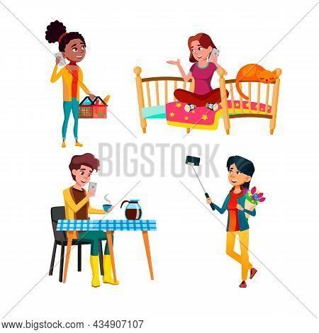 Teenagers Using Smartphone Device Set Vector. Girls Teens Use Smartphone Digital Gadget For Communic