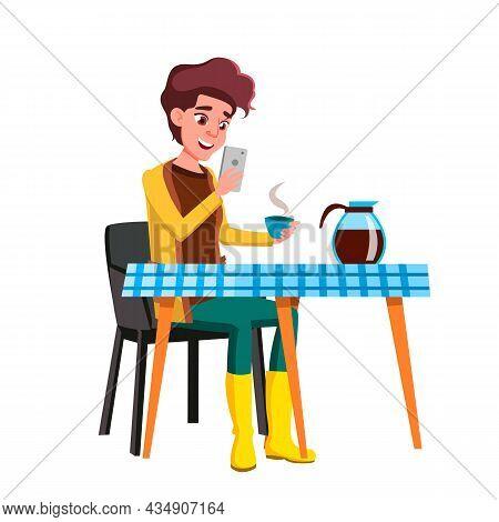 Girl Teen Using Smartphone During Breakfast Vector. Happiness Laughing Teenager Drinking Coffee Ener