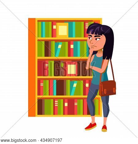 Girl Teenager Thinking And Choosing Book Vector. Asian Chinese Lady Teen Think And Choose Book In Li