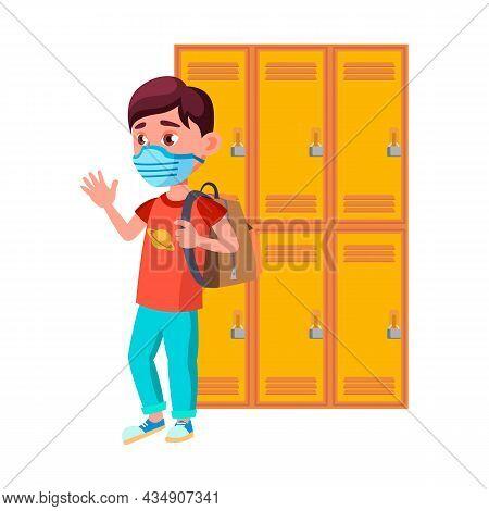 Schoolboy Wearing Mask In School Corridor Vector. Teenager Pupil With Backpack Wear Health Protectio