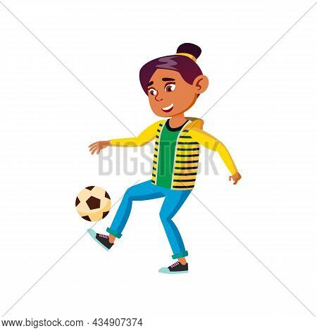 School Girl Playing Soccer Sport With Ball Vector. Hispanic Schoolgirl Play Football Team Game With
