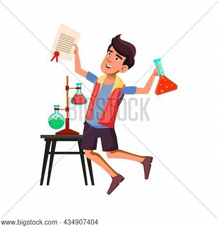 Boy Teenager Celebrate Scientific Discovery Vector. Asian Teen Gut Holding Laboratory Flask With Che