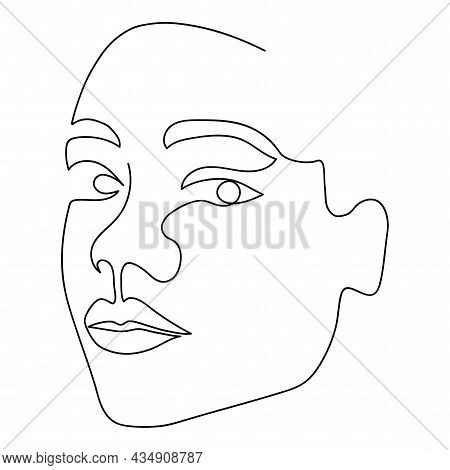 One Line Afro Woman Face. Single Line Art. Female Portrait Isolated On White Background. Continuous