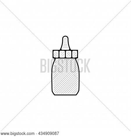 Feeding Bottle Vector Thin Line Icon. Feeding Bottle Hand Drawn Thin Line Icon.