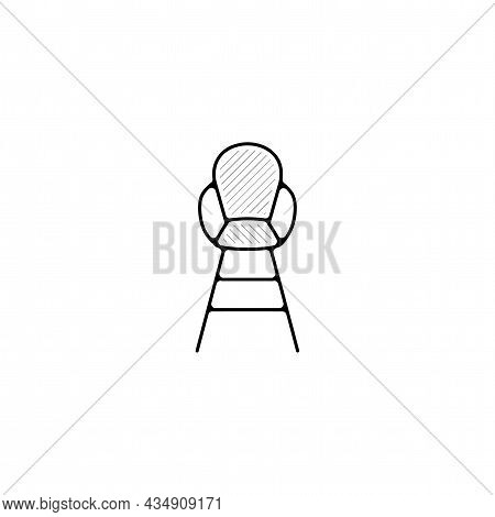 Baby Chair Vector Thin Line Icon. Baby Chair Hand Drawn Thin Line Icon.