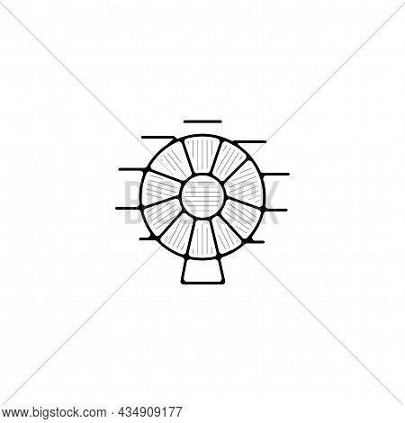 Ferris Wheel Vector Thin Line Icon. Ferris Wheel Hand Drawn Thin Line Icon.