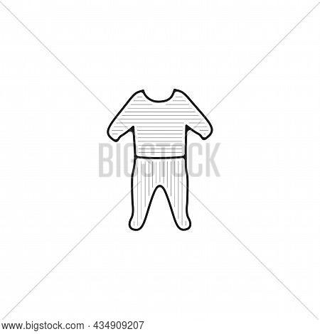 Pajama Icon. Baby Pajama Vector Thin Line Icon. Pajama Hand Drawn Thin Line Icon.