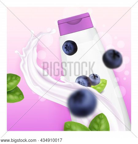 Blueberry Shampoo Creative Promotion Banner Vector. Blueberry Shampoo Blank Bottle Package, Natural