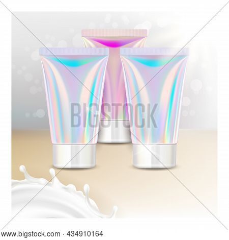 Moisture Hand Cream Promotional Poster Vector. Moisturizing Hand Cream Blank Tube Package And Milky