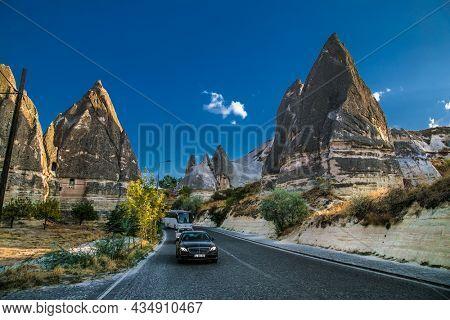 Goreme, Cappadocia, Turkey – 22 Oct 2020: Amazing rocks in Zelve. Cappadocia Earth Pyramids. Turkey