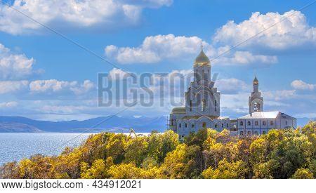 Big Orthodox Church On The Shore Of Avachinskaya Bay On The Kamchatka Peninsula