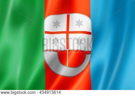 Liguria Region Flag, Italy Waving Banner Collection. 3d Illustration