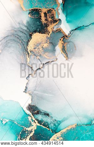 Ocean Blue Abstract Background Of Marble Liquid Ink Art Painting On Paper . Image Of Original Artwor