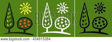 Tree Sketch Icon Set. Life Logo. Plant Insignia. Environment Emblem. Nature Symbol. Organic Icon. Su