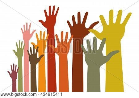 Colorful Up Hands Distort Emblem. Raised Hands In Perspective. Vector Logo Illustration.