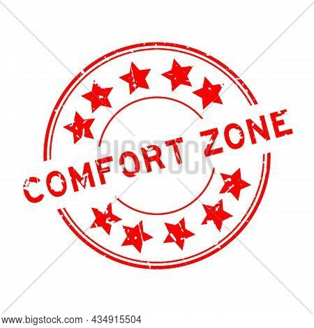 Grunge Red Comfort Zone Word With Star Icon Round Rubber Seal Stamp On White Background