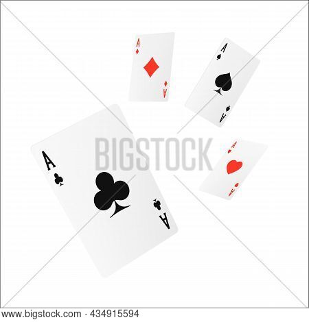 Flying Playing Card Four Of A Kind Or Quads. Ace Design Cazino Game Element. Poker Or Blackjack Real