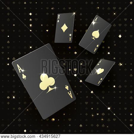 Four Black Poker Cards With Gold Suit. Quads Or Four Of A Kind By Ace. Casino Banner Or Poster In Ro