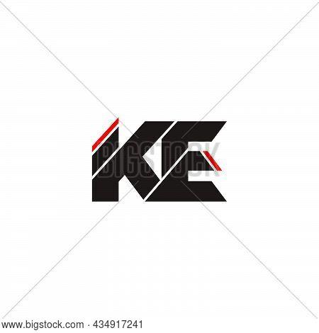 Letter Ke Simple Linked Geometric Colorful Logo  Vector