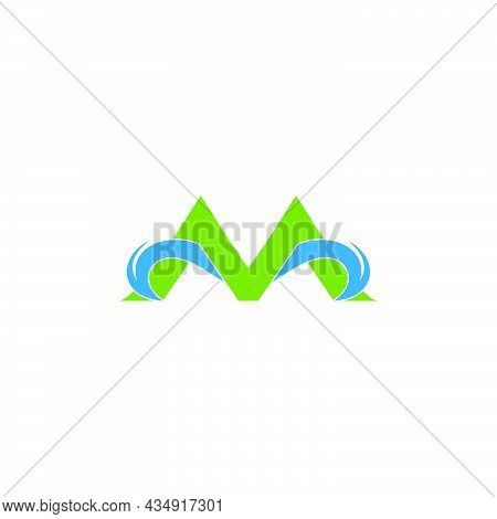 Letter M Green Mountain Water Source Symbol Logo Vector