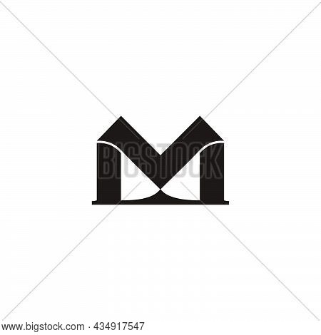 Letter M Simple Shadow Ribbon Shadow Logo Vector