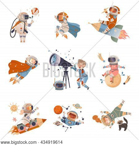 Boys And Girls Astronauts Flying In Space Set. Design Element Can Be Used For Children Print, Books,