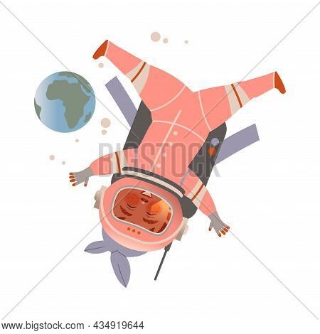 Cute Boy Astronaut In Space Suit Flying In Open Space. Design Element Can Be Used For Children Print