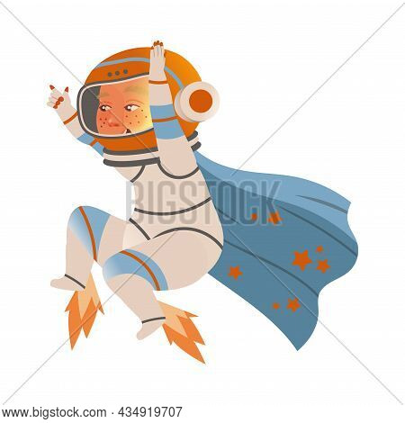 Cute Boy Astronaut In Space Suit Flying On Jetpack. Design Element Can Be Used For Children Print, B