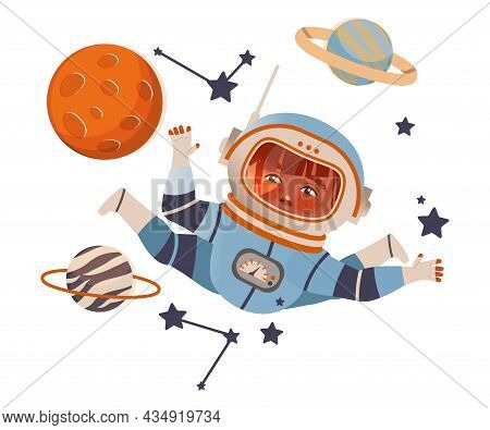 Boy Astronaut Flying In Outer Space. Design Element Can Be Used For Children Print, Books, Stickers,