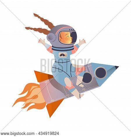 Cute Girl Astronaut In Space Suit Flying On Space Rocket. Design Element Can Be Used For Children Pr
