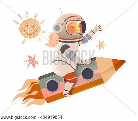 Happy Girl In Space Suit Flying On Space Rocket. Design Element Can Be Used For Children Print, Book