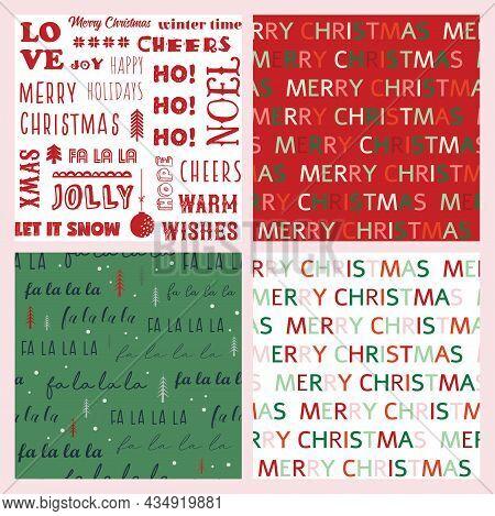 Christmas And Winter Seasonal Seamless Pattern Set. Seasonal Holiday Seamless Pattern With Text. Tex