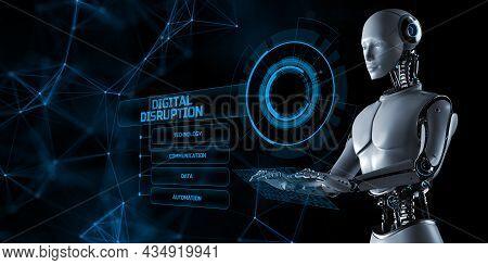 Digital Disruption Transformation Disruptive Innovation Concept. Robot Pressing Button On Screen 3d