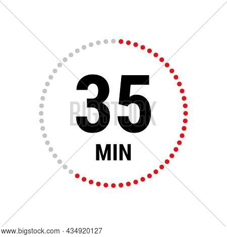 35 Minute Vector Icon, Stopwatch Symbol, Countdown. Isolated Illustration With Timer.