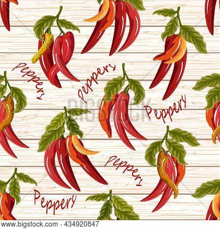 Pepper Pattern On A Wooden Background.red Bell Pepper On A Wooden Background In A Color Vector Patte