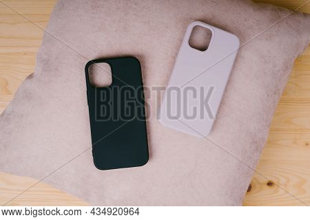 Protective Silicone Cases For The Back Of The Smartphone. Rubberized Shockproof Cases For Smartphone