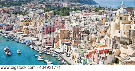 Procida, Italy - Circa August 2020: Panoramic View Of The Mediterranean Italian Island Close To Napl