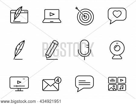 Blog Linear Vector Icons Isolated On White. Blogger Icon Set For Web And Ui Design, Mobile Apps And